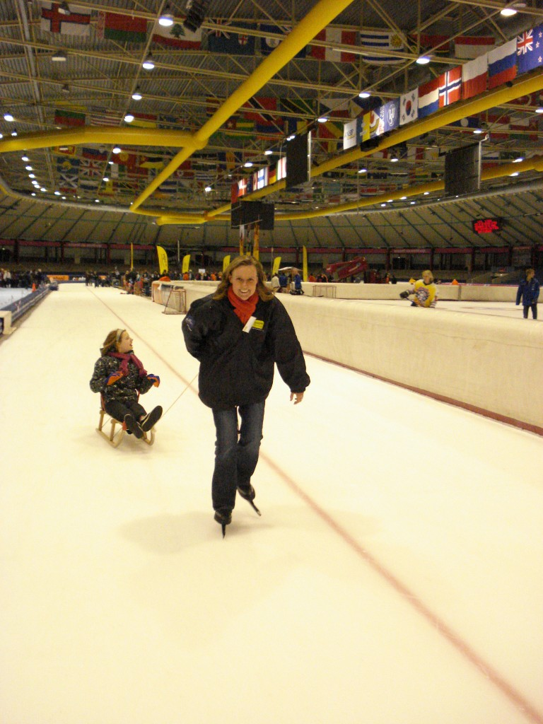 Ice skating with disabled children during one of the events of the Johan Cruyff Foundation - Thialf Stadium Heerenveen.