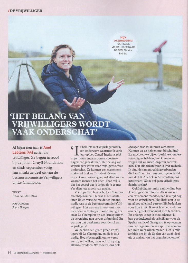 My interview in the magazine of 'Le Champion' about one of my specialities 'Volunteers'.