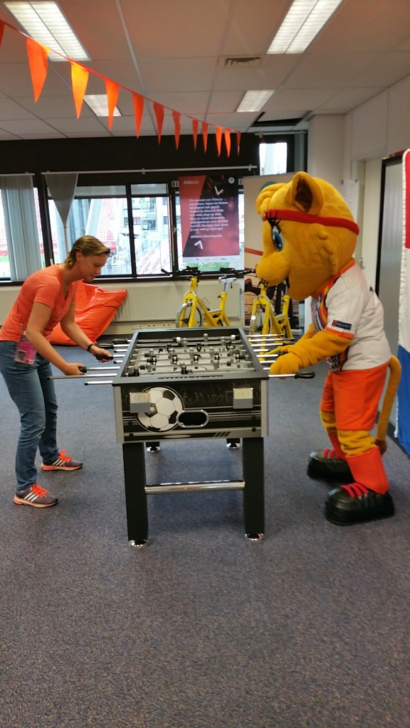 Part of the team 'Volunteer Management' during WEURO 2017, UEFA (football) Women's EURO. Here I am playing with the tournament mascot Kicky.