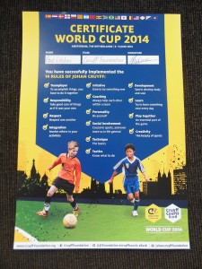 Certificaat WK Cruyff Courts 2014 - 2